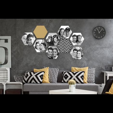 Foto's in een hexagon